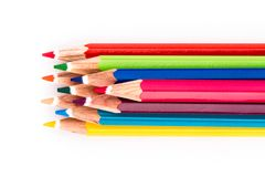 Different colored pencils on white background Stock Images