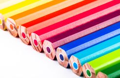 Different colored pencils on white background Royalty Free Stock Image