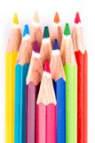 Different colored pencils on white background Stock Photography