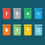 Different colored recycle waste bins  illustration.Colored waste bins with trash.  Royalty Free Stock Images