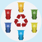 Different colored recycle waste bins  illustration. Colored waste bins with trash Royalty Free Stock Images