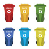 Different colored recycle waste bins vector illustration Stock Photography