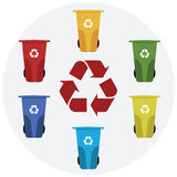 Different colored recycle waste bins vector illustration. Stock Image