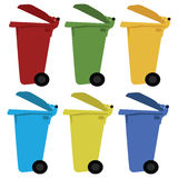 Different colored recycle waste bins vector illustration with trash. Different colored recycle waste bins vector illustration with trash Royalty Free Stock Photography