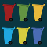 Different colored recycle waste bins vector illustration with trash. Different colored recycle waste bins vector illustration with trash Stock Photos