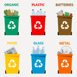 Different colored recycle waste bins vector illustration, Waste types segregation recycling vector illustration. Organic, batterie. S, metal plastic, paper Royalty Free Stock Image