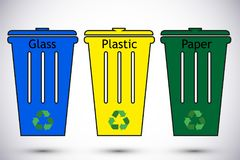 Different colored recycle waste bins. Waste types segregation recycling vector illustration. Plastic paper, glass. Different colored recycle waste bins vector Stock Photo