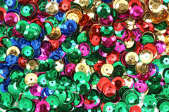 Different colored sequins for craft use Stock Images