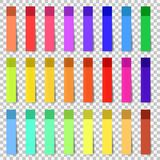 Different colored sheets of note stickers papers collection. Curled corner stock photos