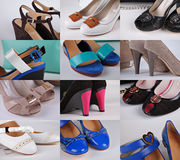 Different colored shoes Stock Images
