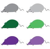 Different colored six mice Stock Image