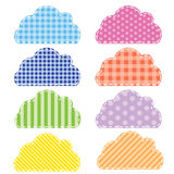 Different colored speech bubbles in  clouds style. Stock Photos