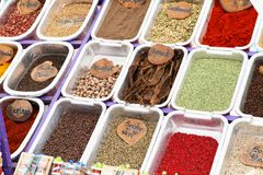 different colored spices Stock Photo