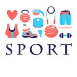 Different colored sports symbols Stock Photos