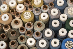 Different colored threads reels Royalty Free Stock Photo