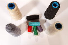 Different colored threads reels Royalty Free Stock Images