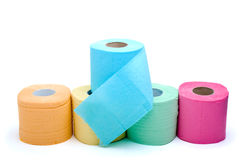 Different colored toilet paper. On the white background Stock Image