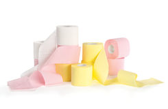 Different colored toilet paper. Composition of different colored toilet paper isolated on wite background Royalty Free Stock Photos