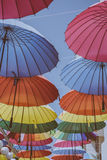 Different Colored Umbrella Aligned during Daytime Royalty Free Stock Photo