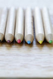 Different colored wooden pencils Stock Images