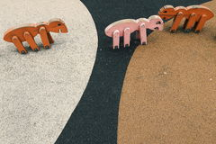 Different colored wooden sheep& x27;s Stock Photo
