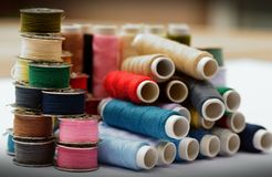 Different colored yarns Stock Photo