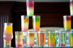 Different colorful alcohol drinks set in bar Royalty Free Stock Photo