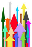 Different colorful arrows directed upwards on white background Stock Image