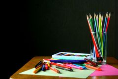 Different Colorful Art and Writing Materials Royalty Free Stock Photography