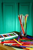 Different Colorful Art and Writing Materials Stock Images