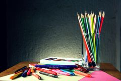 Different Colorful Art and Writing Materials Royalty Free Stock Photos