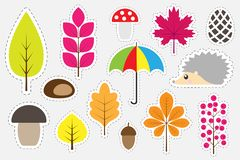 Different colorful autumn pictures for children, fun education game for kids, preschool activity, set of stickers, vector illustra vector illustration