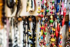Different colorful beads at african market Stock Image