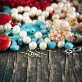 Different colorful beads. royalty free stock photos