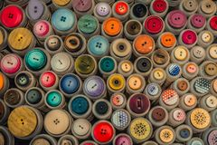 Colorful buttons on a market royalty free stock images