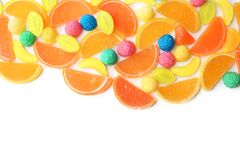 Different colorful candies. On white background stock image