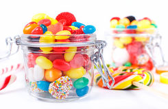 Different colorful candy, sweetmeats and chewing gum Stock Images