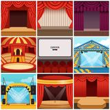 Different colorful cartoon stages set. Different colorful stages set circus, theater, concert hall, cinema, podium and open air festival. Hall equipped with Stock Photography