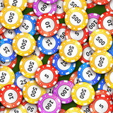 Different colorful casino chips on green cloth, seamless pattern Royalty Free Stock Images