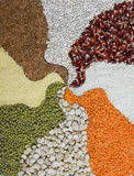 Different colorful cereals, pattern of cereals Royalty Free Stock Photos