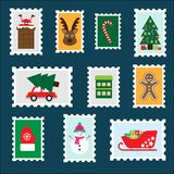 Different colorful christmas postage stamps for children, fun preschool activity for kids, letter to Santa Claus, set of stickers stock illustration