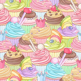 Different colorful cupcakes dense seamless pattern. Vector illustration Royalty Free Stock Image