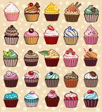 Different colorful delicious cupcakes. 25 different colorful delicious cupcakes, vector illustration Royalty Free Stock Images