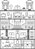 House interior silhouette. House interior in barocco style silhouette. Raster copy Royalty Free Stock Images