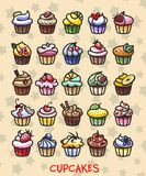Different colorful delicious cupcakes. 25 different colorful delicious cupcakes, vector illustration Stock Image