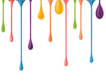 Different colorful drops. vector 3d illustration. paint falling drips vector. nail polish drops downfall. rainbow oil. Paint glossy drops isolated. multicolor Stock Image
