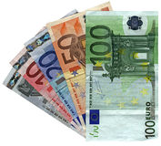 Different colorful euro isolated, savings wealth. Pile of different grunge (grungy) colourful money (savings in 5, 10, 20, 50, 100 euro banknotes) isolated on stock images