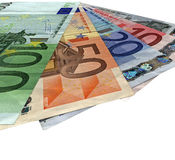 Different colorful euro isolated, savings wealth. Pile of different grunge (grungy) colourful money (savings in 5, 10, 20, 50, 100 euro banknotes) isolated on stock photography