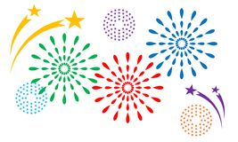 Colorful fireworks, vector. Different colorful fireworks, vector decorations Royalty Free Stock Photos