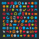 Different colorful flat web icons set made on music, environment Stock Photo